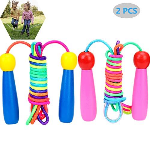 saizone Holzgriff Kinder Springseil 2 m verstellbares geflochtenes Fitness-Springseil aus Baumwolle für Schulübungen oder Aktivitäten im Freien
