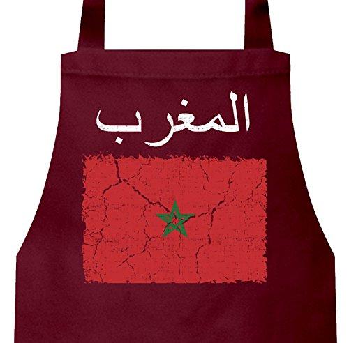 ShirtStreet Marokko Fußball WM Fanfest Gruppen Frauen Herren Barbecue Baumwoll Grillschürze Kochschürze Wappen Marocco, Größe: onesize,Burgund