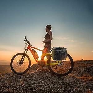 Sunshine smile Bolsas Bicicletas traseras,Bolsa Doble Bicicleta,alforjas Bicicleta Impermeable,Pannier Bag,alforjas Bicicleta montaña (Negro)