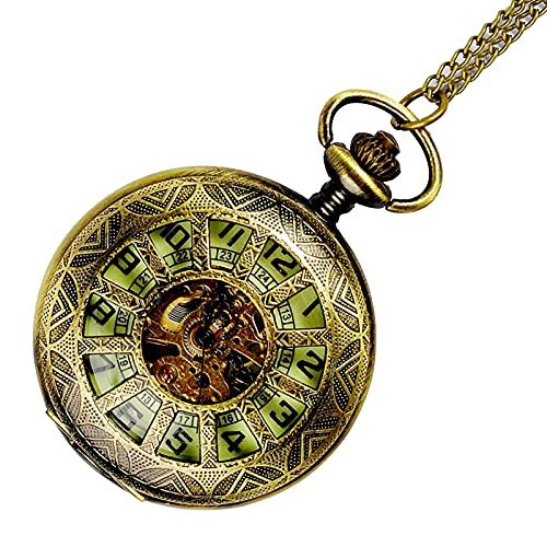 XGJJ Vintage Números árabes Reloj de Bolsillo con Cadena Mecánico Skeleton Metal Bronce Mens Reloj de Bolsillo