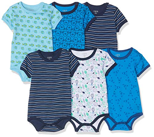 Amazon Exclusive: Care Baby - Jungen Kurzarm-Body im 3er und 6er Pack Blau (Dress Blues 772), Herstellergröße: 98