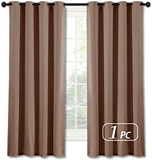 NICETOWN Blackout Curtains 63 inches Length - (Cappuccino Color) Thermal Insulated Room Darkening Drape for Villa/Apartment/Rental Room, 52 inches Wide by 63 inches Long, 1 Piece