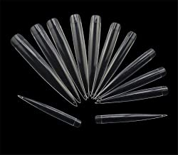 Vastitude 120 Pcs Stiletto Extra Long Sharp False Nail Art Tips Acrylic Fake Nail Tools Kit,12 Sizes 12 Sizes, each size 10 tips Clear