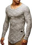 Leif Nelson Herren Pullover Rundhals-Ausschnitt Schwarzer Männer Longsleeve dünner Pulli Sweatshirt Langarmshirt Crew Neck Jungen Hoodie T-Shirt Langarm Oversize LN6358 Grau XX-Large