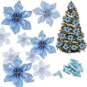 Whaline 24 Pcs Poinsettia Artificial Christmas Flowers with 24 Pack Clips, Glitter Christmas Tree Ornaments Xmas Wedding Party Decor (13 x 13 cm)