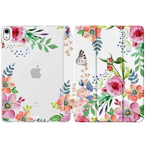 MoKo Case Fit New iPad Air 4, iPad Air 4th Generation Case 2020 10.9', Smart Trifold Stand Slim Folio Case Soft TPU Frosted Translucent Back Cover Fit iPad Air 4 2020,Auto Wake/Sleep,Fragrant Flowers