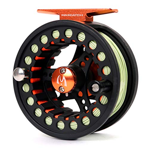 M MAXIMUMCATCH Maxcatch ECO Pre-Loaded Fly Fishing Reel Aluminum Body with Fly Line, Backing, Leader(3/4wt 5/6wt 7/8wt) (Black ECO Reel with Line, 7/8 wt)