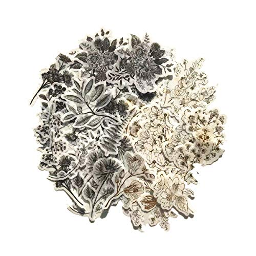 DESEACO Vintage Zen Botany Flower Washi Sticker Pack   Artsy Natural Black and White Plants with Golden Sketching Decals Collection (Vintage Wild Plants Gray/Golden 120 Pcs)