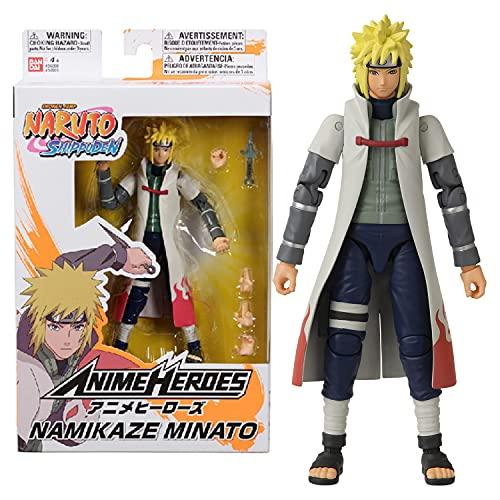 Anime Heroes Figura de acción Oficial de Naruto Shippuden – Namikaze Minato – Figura de acción Poseable con Manos y Accesorios Intercambiables 36905