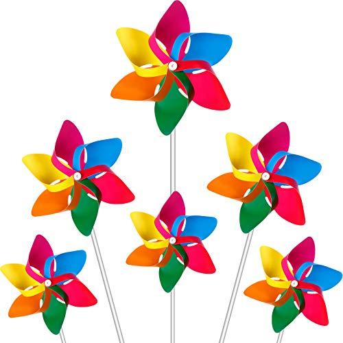 Hestya Plastic Rainbow Pinwheel, Party Pinwheels DIY Lawn Windmill Set for...
