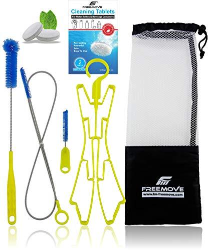 Hydration Bladder Cleaning Kit 5in1 | NO MORE DIRT | Universal for Water Bladder Bag | Camelback Cleaner Kit | Large Brush, Small Brush, Snake Brush, Drying Hanger, Carry Bag & 2x Cleaning Tablets