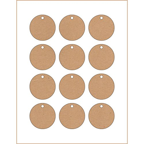 60 Printable Cardstock Circle Hang Tags with Holes, Heavy Duty Tags with Easy Print Templates, 2 x 2 inches, Kraft