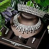 LIYDENG Joyería nupcial conjuntos de joyas para mujeres Full CZ color oro blanco novia Tiaras collar pendiente conjunto vestido (color: blanco color)