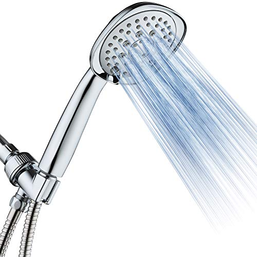 """AquaDance, Chrome Luxury Square 6-setting High-Pressure Hand Extra-Long 72"""" Stainless Steel Hose, Bracket, Solid Brass Fittings, Finish. Premium Handheld Shower Head from Top American"""