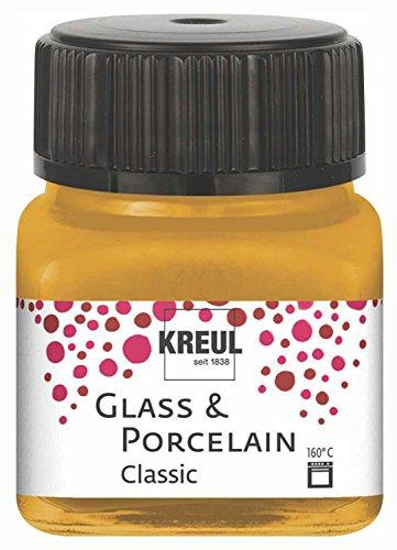 Kreul 16247 - Glass und Porcelain Classic, brillante Glas- und Porzellanmalfarbe auf Wasserbasis, schnelltrocknend, deckend, 20 ml im Glas, metallic gold
