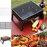 JAOSY <span class='highlight'>Barbecue</span> Charcoal Grill Portable <span class='highlight'>Folding</span> Lightweight with Remove Net, Stainless Steel Foldable for Outdoor Camping Picnics Backpacking Cooking Festival Party