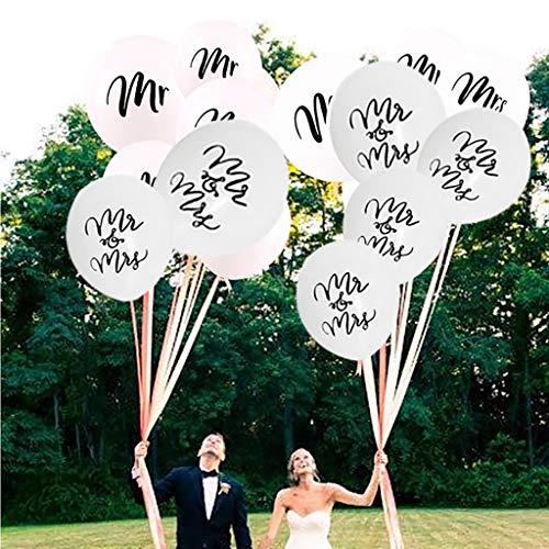 Tumao 10 Stück Mr.& Mrs Latexballon Konfetti Luftballons, Ideal für Hochzeit, Junggesellinnen-Abschied, Hen Party, Hochzeits-Deko. (Roségold) - 5