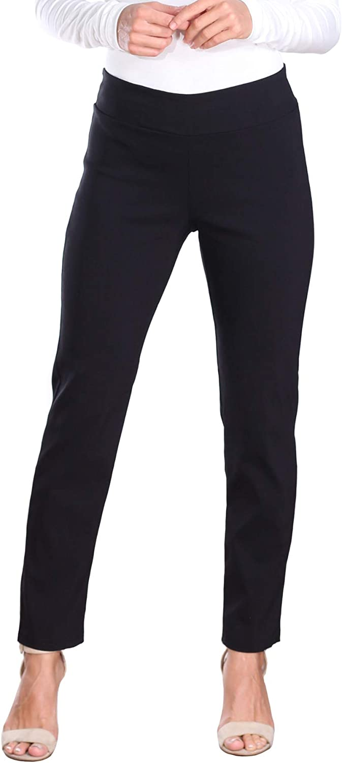 Popana Womens Stretch Pull On Dress Pants Ankle Length Work Casual - Made in USA