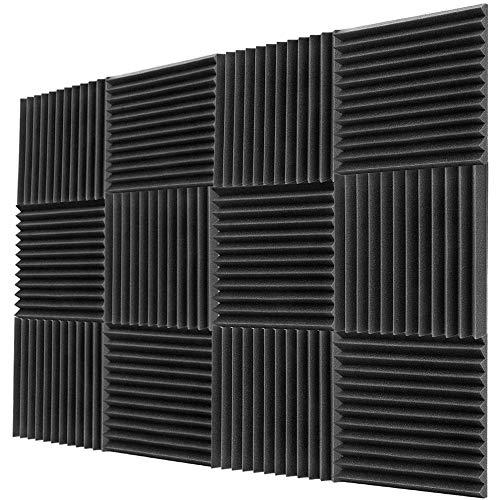 Akustikplatten im 12er-Pack 1 x 12 x 12 Zoll - Akustikschaum - Studio-Schaumkeile - Platten mit hoher Dichte - Schallschutzkeil