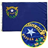 GORISE US Nevada State Flag, 3x5 Ft State Flag of Nevada Embroidered for Outdoor Decor, US NV Flags for Nevada (Nevada Flag 3x5 Ft)