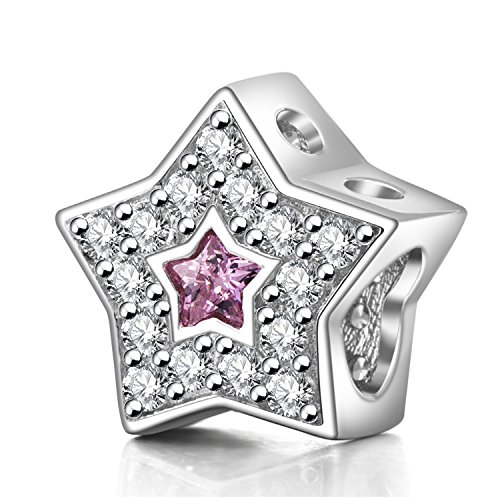 Cinco puntas estrella charms 925plata de ley Twinkle Pentagram Charms con claro y rosa CZ para pulsera