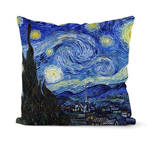 PPMP Van Gogh Pintura al óleo Funda de cojín sofá decoración del hogar Funda de Almohada Girasol autorretrato Cielo Estrellado Funda de Almohada Funda de cojín A10 45x45cm 1pc