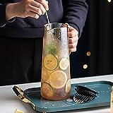 QDTD 1.2L Jarra de Agua Cristal Borosilicato Jarra de Agua con Tapa Acero Inoxidable Agua Caliente y Fría Carafe para Agua Leche Zumo Té Helado Limonada y Bebidas Chispeantes(Size:1 Pieces)