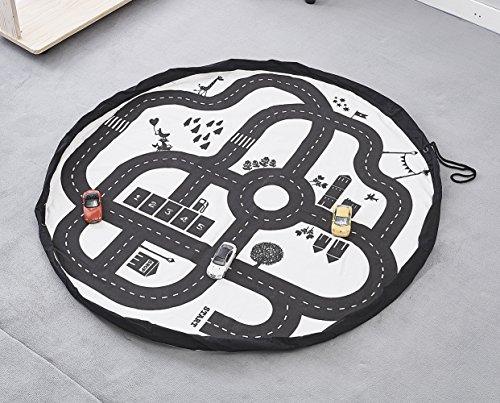 Tyhbelle Kinder Aufräumsack Baby Krabbeldecke Matt für Kinderzimmer Kinderteppich Cartoon Spielmatte Spieldecke mit Aufbewahrungsbeutel, Durchmesser.135cm (Autobahn2)