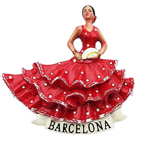 Imán para nevera 3D Flamenco Barcelona, España, decoración del hogar y la...