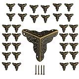 Aweisile 32 Piezas Antiguos Muebles Esquinas Antiguo Esquineros Protectores Triángulo Protector de Esquinas de Metal Bronce Muebles Estilo con Clavos,24mm