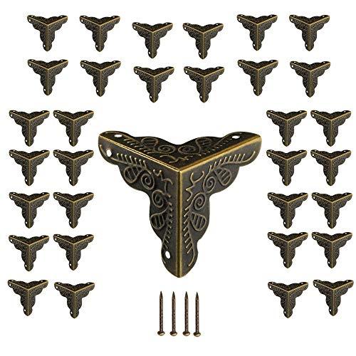 Aweisile 32 Pezzi Angoli per Mobili Anticati Protezioni Angolari in Bronzo Paraspigoli Angolari in Metallo Protezione per Angoli Vintage Scatola di Angoli per Mobili accessori,128 chiodi abbinati,24mm