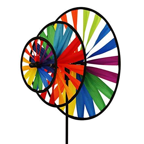 CIM Windspiel - Magic Wheel Triple - UV-beständig und wetterfest - Windräder: Ø35cm/Ø25cm/Ø16cm, Höhe: 102cm - inkl. Fiberglasstab