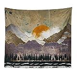 Tapiz Abstracto Pintado Que cuelga Ballena Puesta del Sol de la montaña del Bosque del Hippie Mandala Tapiz Pared Paisaje 8.13 (Color : B, Size : 230cmx180cm(90x71inch))