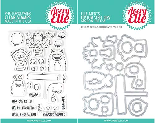 Avery Elle - Peek-A-Boo Scary Pals - Clear Stamps and Dies Set