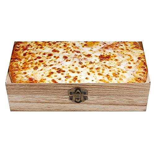 Caja decorativa de madera para amantes de la pizza, caja de regalo y almacenamiento en el hogar, caja de regalo, caja de té de almacenamiento de 19 x 9 x 5,8 cm