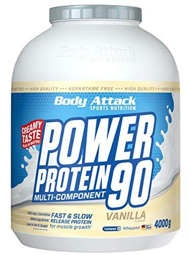 Body Attack Power Protein 90, Vanille, 4 kg, 5K Eiweißpulver mit Whey-Protein, L-Carnitin und BCAA für Muskelaufbau und Fitness