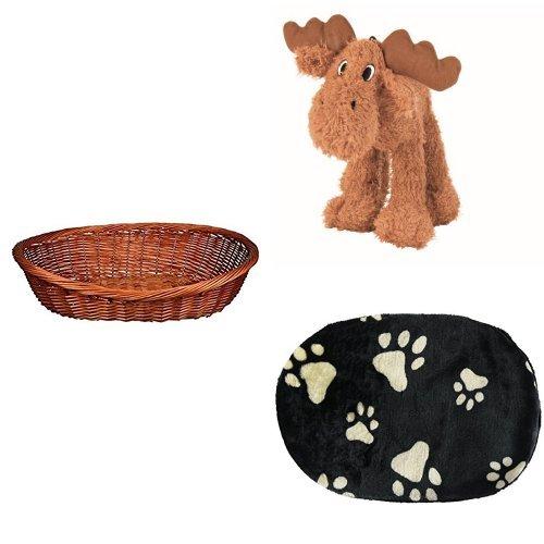 Trixie Hundekorb  + Trixie Hund Elch, Plüsch, 23 cm + Trixie 38931 Joey Kissen 44 × 31 cm, schwarz
