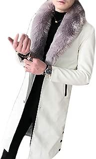 Oberora-Men Slim Faux Fur Collar Long Pu Leather Trench Coat Jacket Outwear