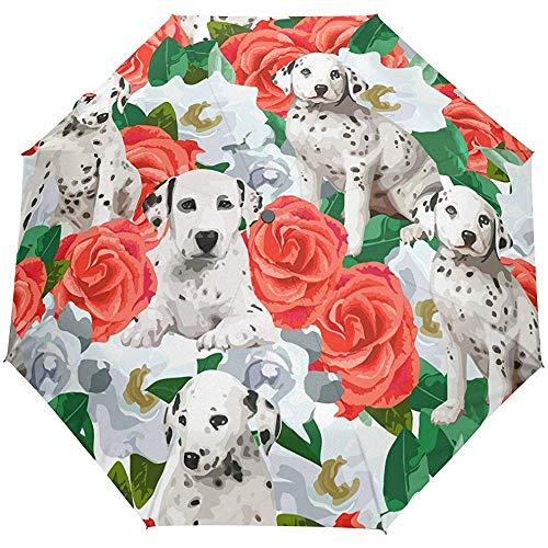 Cute Floral Flowers Dog Dogs Auto Open Close Umbrellas Anti UV Folding Compact Automatic Umbrella