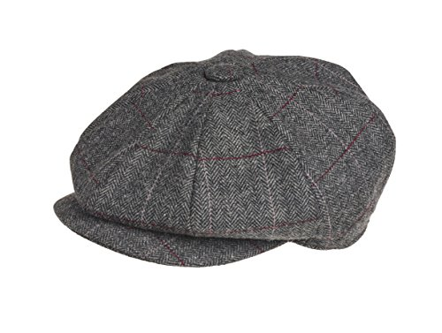 Gorra de Peaky Blinders, lana, de estilo chico repartidor de periódicos Gris Revisión de color gris L (59 cm)