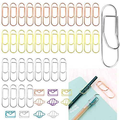 Daily Treasures 36Pcs Stainless Steel Pen Holder Clips, 3 Colors Metal Pen Clip Paper Clip with 10Pcs Metal Bookmarks for Notebooks, Journals, Pictures, Calendars, Planner-Fits Most Pen Size