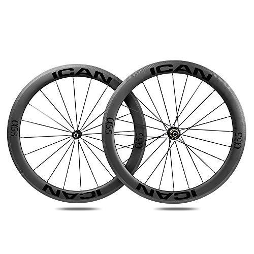 ICANIAN Alpha 55 Ruedas de Carbono Remachador Tubeless Listo Bici Carretera Ruedas 20/24 Agujeros Shimano 10/11 V