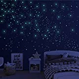 808 PCS Glow in The Dark Stars for Ceiling, Glowing Wall Decals Decor Stickers,(404 Pcs Green and 404 Sky Blue)3D Adhesive Dots Decor Starry Sky Decor for Kids Bedroom or Birthday Gift