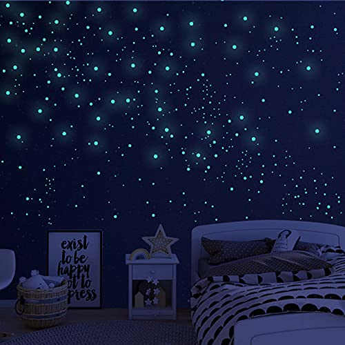 808 PCS Glow in The Dark Stars for Ceiling, Glowing Wall Decals Decor Stickers,(404 Pcs Green and...