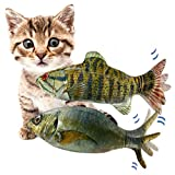 """11"""" Electric Moving Fish Cat Toys 2 Pack, Realistic Plush Simulation Electric Wagging Fish Cat Toy Catnip Kicker Toys, Funny Interactive Pets Pillow Chew Bite Kick Supplies for Cat Kitten Kitty"""