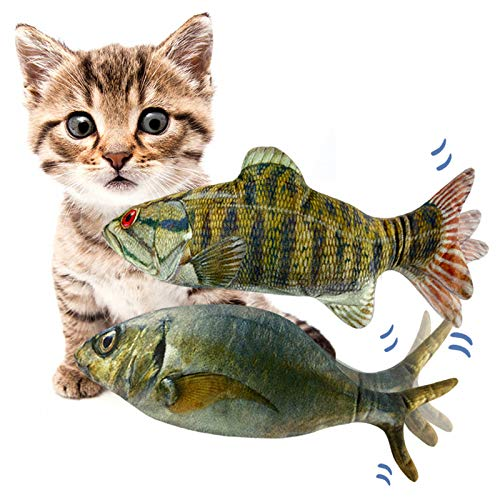 Price comparison product image 11 Electric Moving Fish Cat Toys 2 Pack,  Realistic Plush Simulation Electric Wagging Fish Cat Toy Catnip Kicker Toys,  Funny Interactive Pets Pillow Chew Bite Kick Supplies for Cat Kitten Kitty