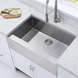 Comllen 33 Inch 304 Stainless Steel Farmhouse Kitchen Sink, Single Bowl 16 Gauge 10 Inch Deep Handmade Undermount Apron Kitchen Sink