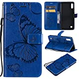 Amocase Wallet Leather Case with 2 in 1 Stylus for Samsung Galaxy M10/A10,Premium Strap 3D Butterfly Magnetic PU Leather Stand Shockproof Card Slot Case for Samsung Galaxy M10/A10 - Blue