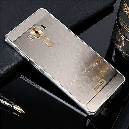 Schutzhülle für Asus ZenFone 3 Deluxe Hülle Shockproof,Slynmax Spiegel Silber Metall Bumper Hülle für Asus ZenFone 3 Deluxe,5,7 Zoll ZS570KL Dual Layer Electroplate Handyhülle Transparent Mirror Tasche