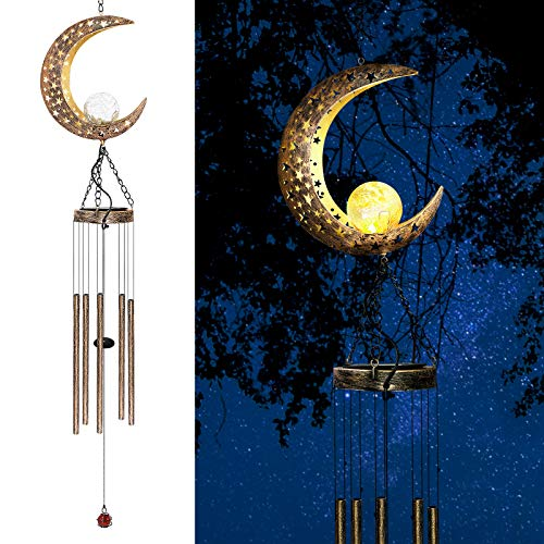 AceList Moon Solar Wind Chimes for Outside, Gifts for Dad Grandpa Fathers Day Birthday Gifts from Daughter and Son, Mom and Dad Gifts for Patio, Porch, Deck, Garden Home Decor